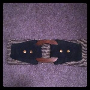 Anthropologie Wide turquoise print belt w/ wood S